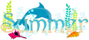Cute summer underwater text Royalty Free Stock Photo