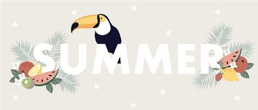 Cute Summer web banner with toucan bird, exotic fruit, flowers and palm leaves. Seasonal greeting card, invitation stock photos