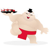 Cute sumo sushi chef. Character vector illustration Stock Images