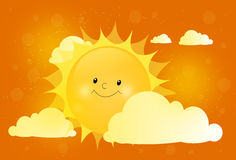 Cute sun behind cloud Stock Images