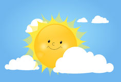 Cute sun behind white cloud Stock Images