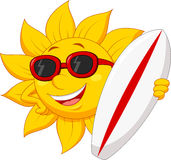 Cute sun cartoon character with surfing boad. Illustration of Cute sun cartoon character with surfing boad Stock Image