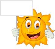 Cute sun cartoon holding blank sign Stock Image