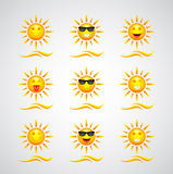 Cute sun cartoons set Royalty Free Stock Photos