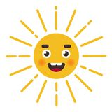 Cute sun character. character`s face with rays. stock illustration