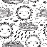 Cute sun and clouds childish seamless pattern black Royalty Free Stock Photo