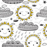Cute sun and clouds childish seamless pattern black and yellow Stock Photo