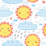 Cute sun and clouds childish seamless pattern Stock Image