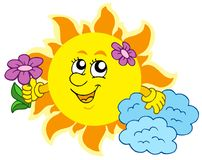Cute Sun with flower Stock Image