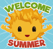 Cute Sun Giving Welcome to Summer Season, Vector Illustration Stock Images