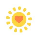 Cute sun with heart. Inside. Vector illustration Royalty Free Stock Photos