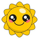 Cute sun kawaii face vector illustration design isolated. On white royalty free illustration