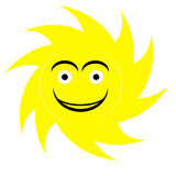 Cute sun logo. Cute sun illustration in yellow color, smile face isolated in white background.AI available Stock Photography