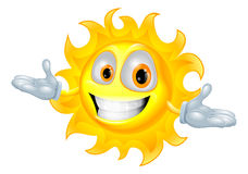 Cute sun mascot cartoon character Stock Photos