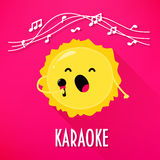 Cute sun with microphone sings karaoke songs. Flat style. Vector illustration Stock Photo