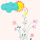 Cute Sun picking flowers Royalty Free Stock Photo