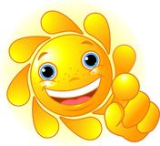 Cute Sun pointing Royalty Free Stock Images