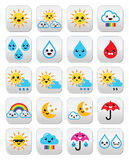 Cute sun, rainbow, moon, rain and cloud - Kawaii, Manga buttons Stock Photo