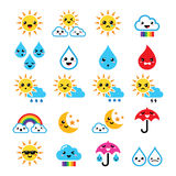 Cute sun, rainbow, moon, rain and cloud - Kawaii, Manga icons. Funny cartoon weather icons set of clouds isolated on white Royalty Free Stock Photography