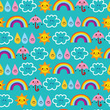 Cute sun umbrella raindrop clouds rainbow seamless pattern Royalty Free Stock Images