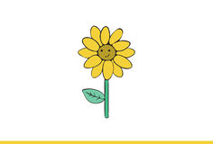 Cute sunflower Illustration. Stock Photo