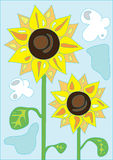 Cute sunflowers. Illustration of cute sunflowers over blue sky background Royalty Free Stock Photography