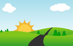 Cute Sunny Landscape, Vector Stock Photos