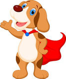 Cute super dog cartoon presenting Royalty Free Stock Photos