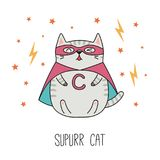 Cute super hero cat vector illustration