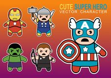 Cute Super Hero. Four different character  cuttable Cute Super Hero Stock Photography