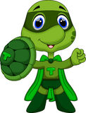 Cute super turtle cartoon Stock Photos