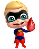 Cute superbaby with Blood drop. 3d rendered illustration of cute superbaby with Blood drop Stock Images