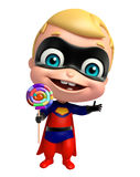 Cute superbaby with Lollipop Stock Image