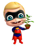 Cute superbaby with Plant Stock Photos