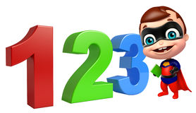 Cute superbaby with 123 sign. 3d rendered illustration of cute superbaby with 123 sign Royalty Free Stock Photo