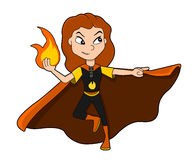 Cute superhero girl cartoon. Illustration of cute ginger-haired superhero girl with fire-based powers, wearing red, orange and yellow costume,  on white Royalty Free Stock Photography