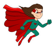 Cute superhero girl cartoon Royalty Free Stock Image