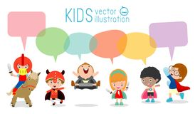 Cute superhero kids with speech bubbles, Set of  superhero child  with speech bubbles isolated on white background,Vector Royalty Free Stock Photography
