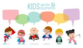 Cute superhero kids with speech bubbles, Set of superhero child with speech bubbles isolated on white background,Vector. Illustration royalty free illustration