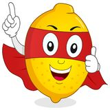 Cute Superhero Yellow Lemon Character Royalty Free Stock Photography