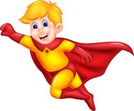 Cute superman cartoon flying with smile and waving. Vector illustration of cute superman cartoon flying with smile and waving Royalty Free Stock Photos