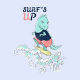 Cute surf dinosaur and waves with slogan. Vector baby patch for fashion apparels, t shirt, stickers, embroidery and printed tee design royalty free illustration
