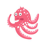 Cute surprised cartoon pink octopus character, funny ocean coral reef animal vector Illustration Royalty Free Stock Images
