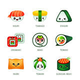 Cute sushi bar icons Stock Photo