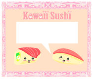 Cute sushi cartoon illustration Royalty Free Stock Images
