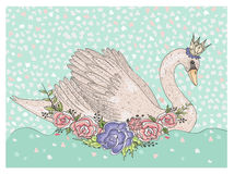 Cute swan with crown and flowers. Fairytale background for kids Stock Photography