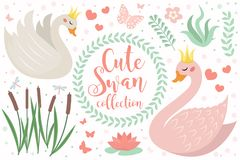 Cute swan princess character set of objects. Collection of design element with swans, reeds, water lily, flowers, plants. Kids baby clip art funny smiling stock illustration
