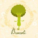 Cute sweet broccoli character illustration Royalty Free Stock Photo