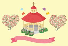 Cute and Sweet Chapel of Love Vector Illustration. For many purpose such as wedding invitation, baby shower, photo album cover, etc Royalty Free Illustration