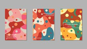 Cute and sweet color cover design template set. Vector illustration Royalty Free Stock Photos